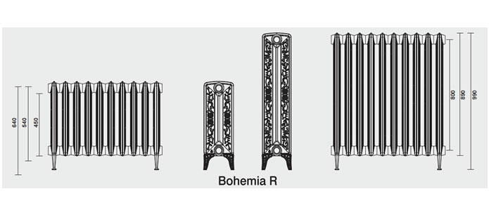 Radiateur en fonte bohemia r 450 225 pied for Decapage de radiateur en fonte