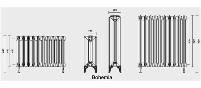 radiateur fonte bohemia 450 225 avec pied. Black Bedroom Furniture Sets. Home Design Ideas